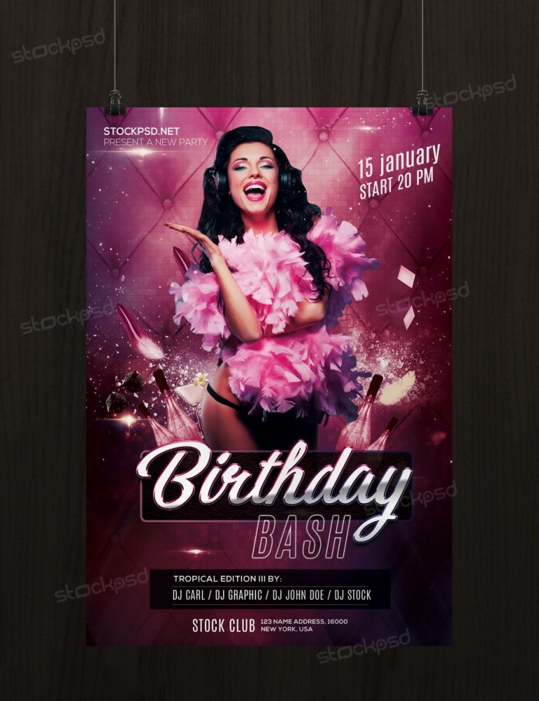 birthday bash free psd flyer template stockpsd