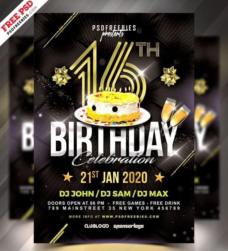 birthday night party free psd flyer template com imagens