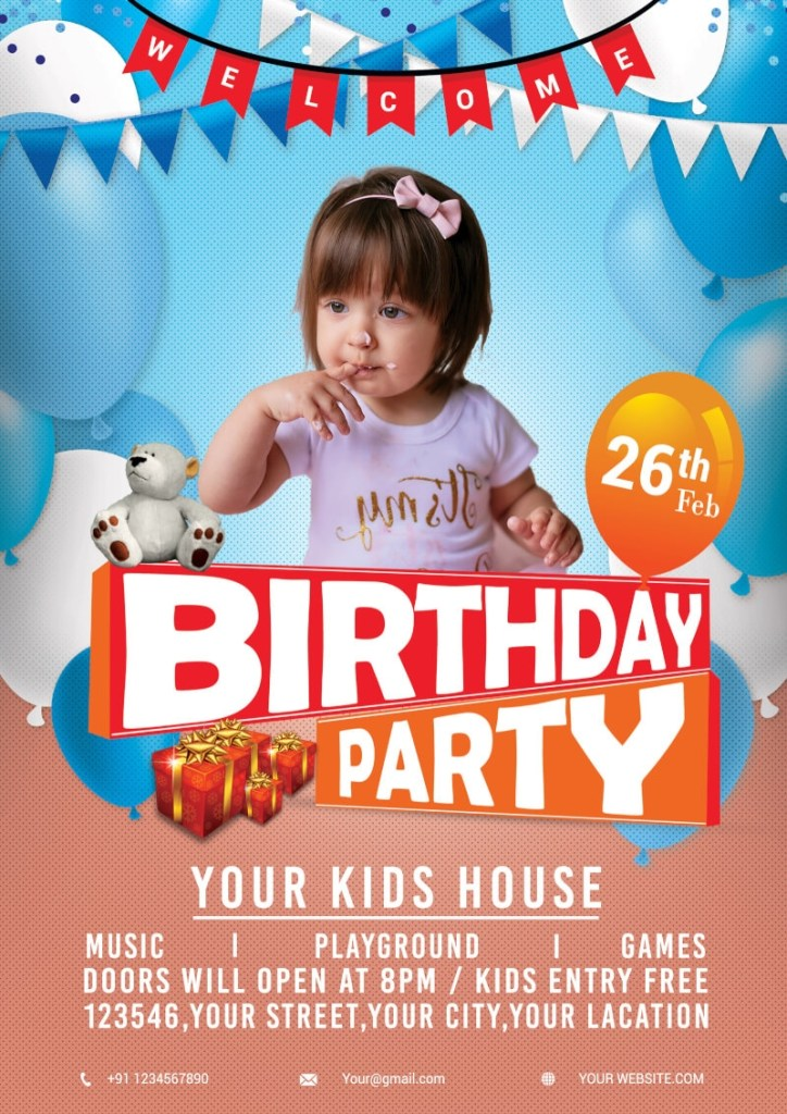 birthday party flyer psddaddy
