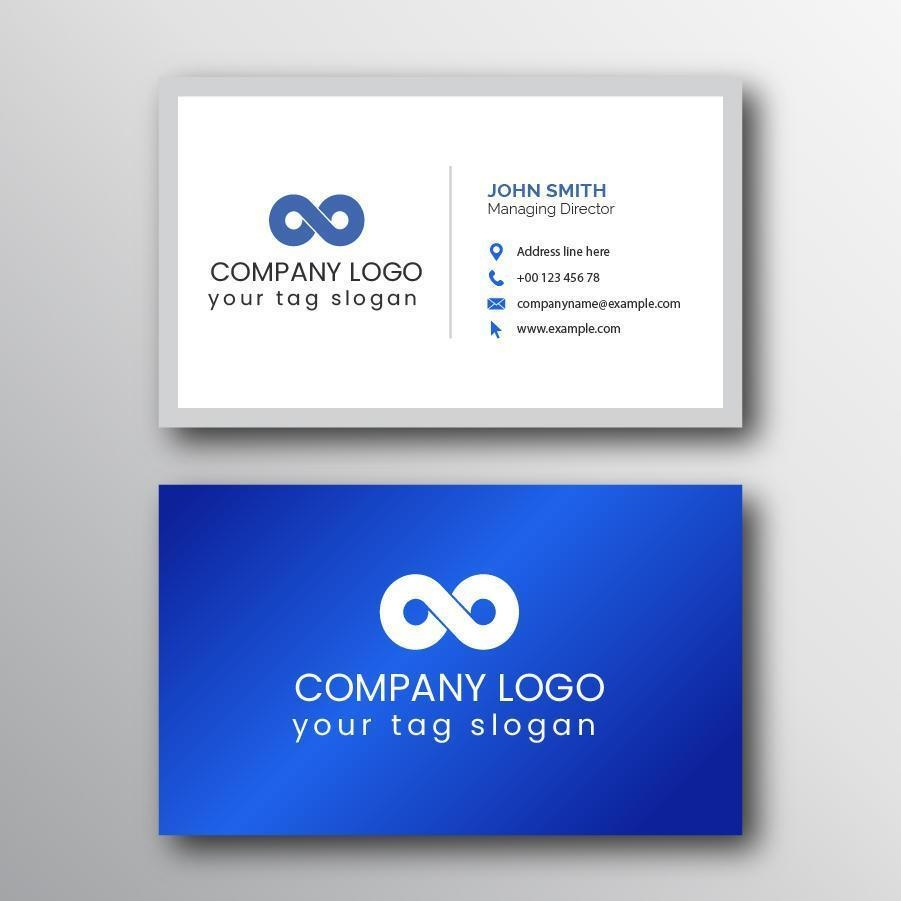 blue and white clean simple business card template with logo