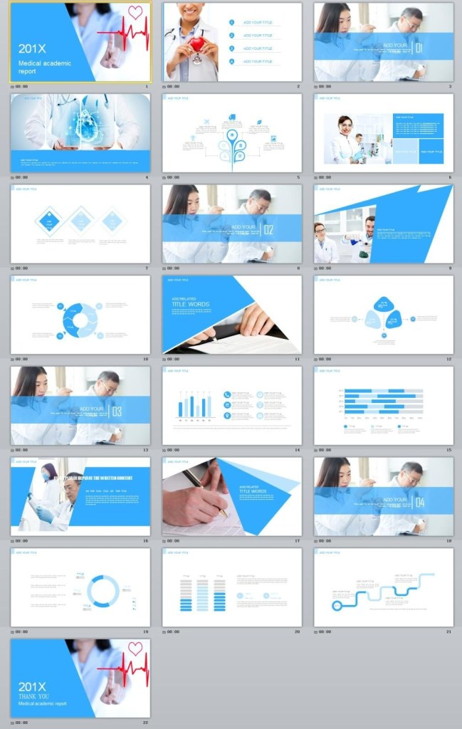 blue medical report powerpoint template with images
