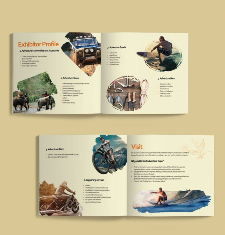 brochure design united adventure expo