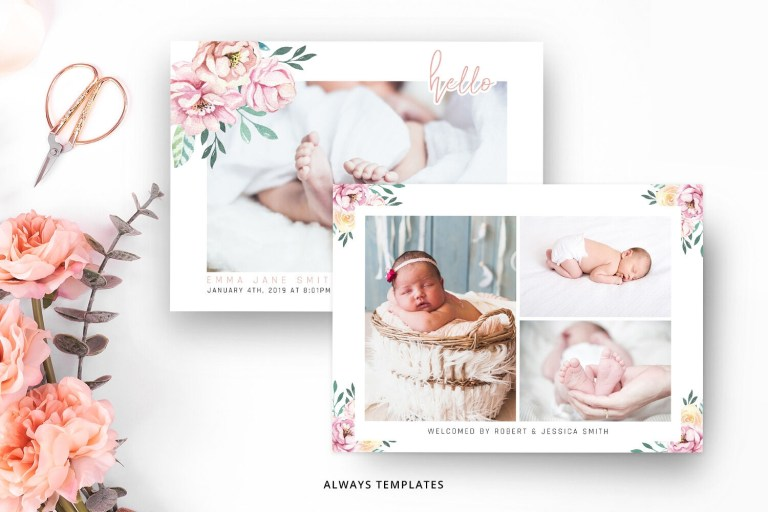 cute baby birth announcement template