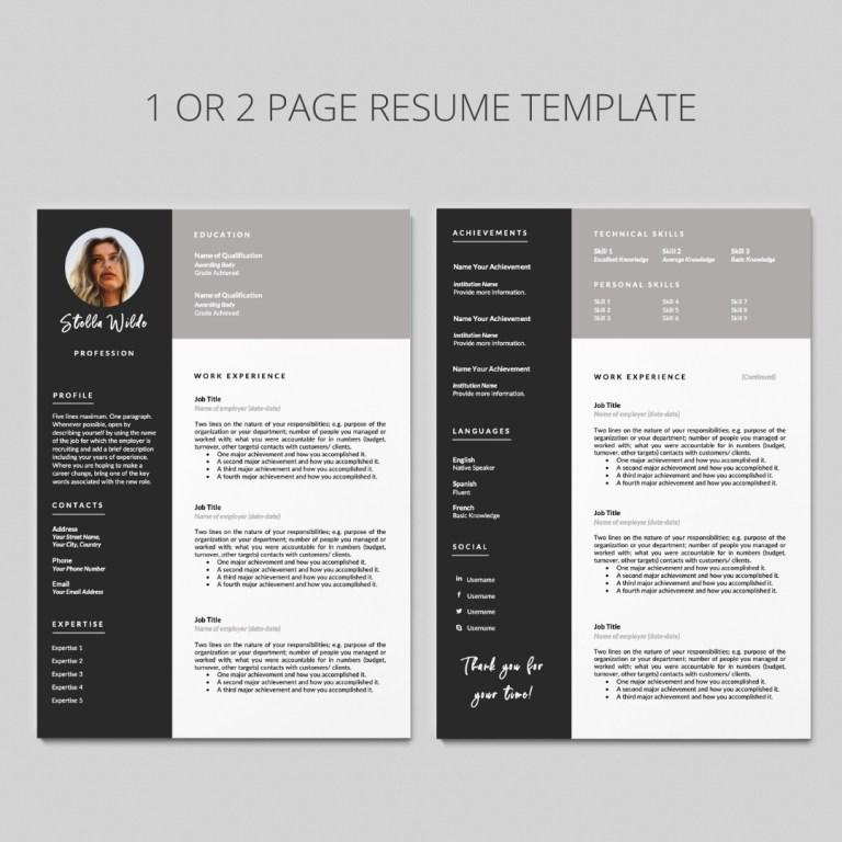 cv template i 2 page resume template i curriculum vitae i stella wilde