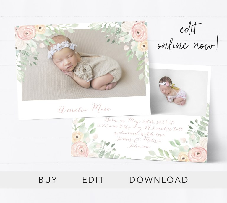 editable birth announcement template girl