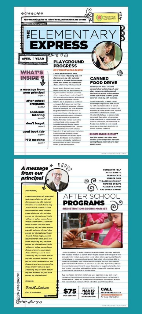 elementary school newsletter design template stocklayouts