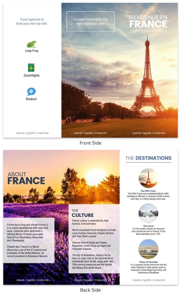 france travel tri fold brochure