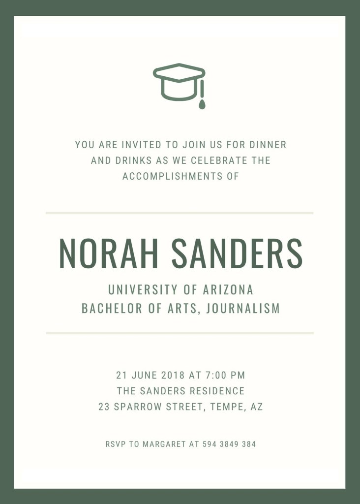 green simple graduation dinner invitation templates canva