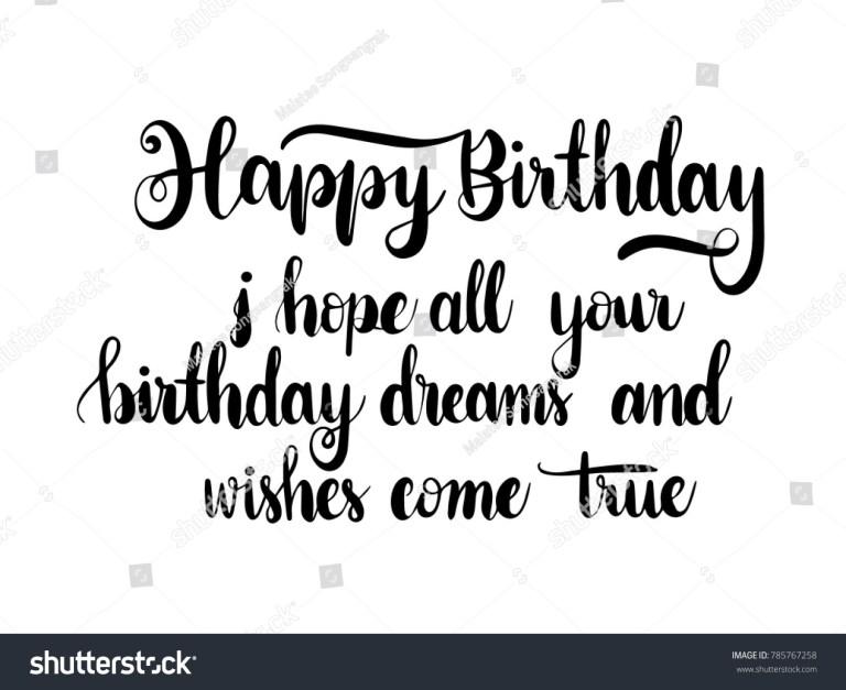 happy birthday quote calligraphy hand lettering vector