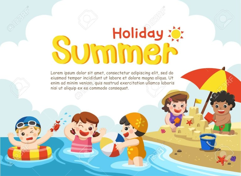 happy kids play and swim travel brochure for kids