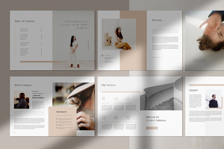 light creative elegant portfolio brochure indesign