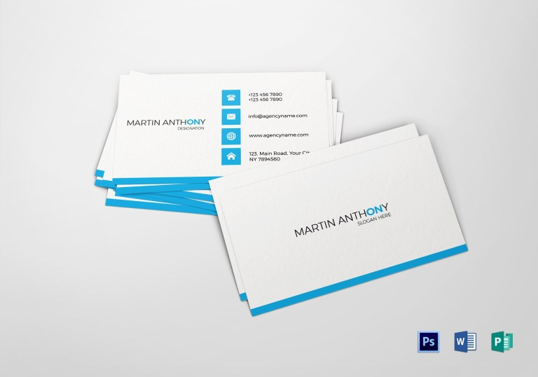 minimalist white & blue business card template