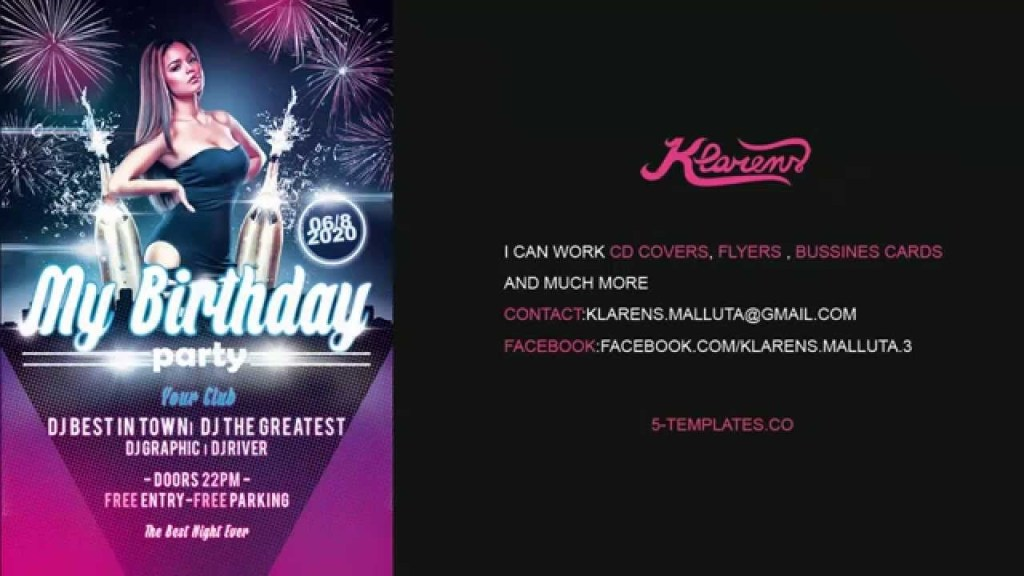 my birthday party flyer free psd template