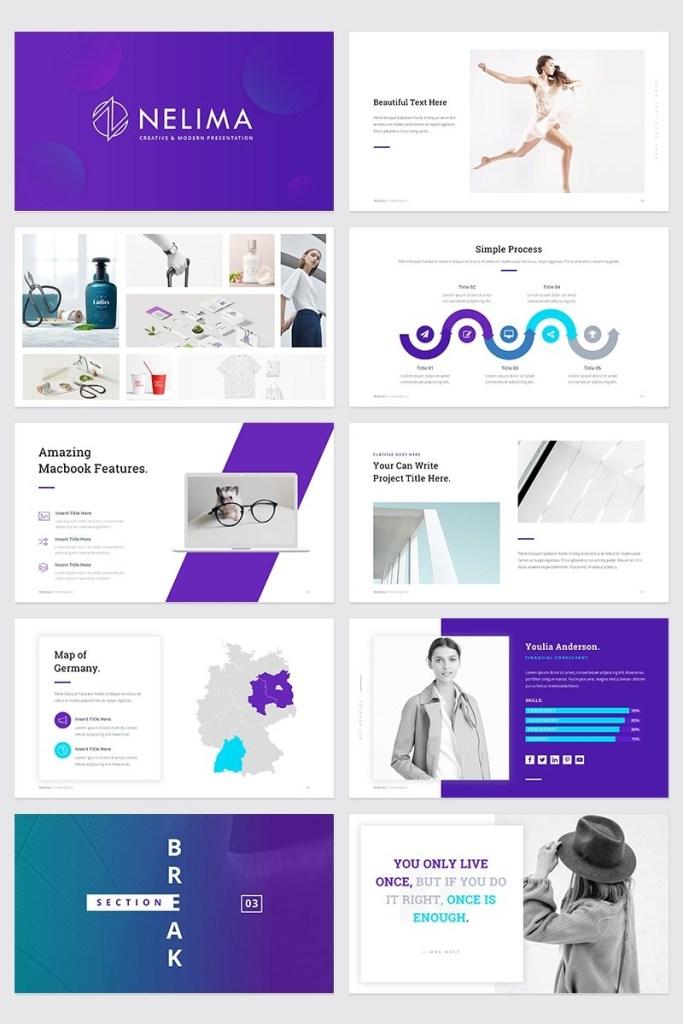 nelima modern minimal presentation powerpoint template