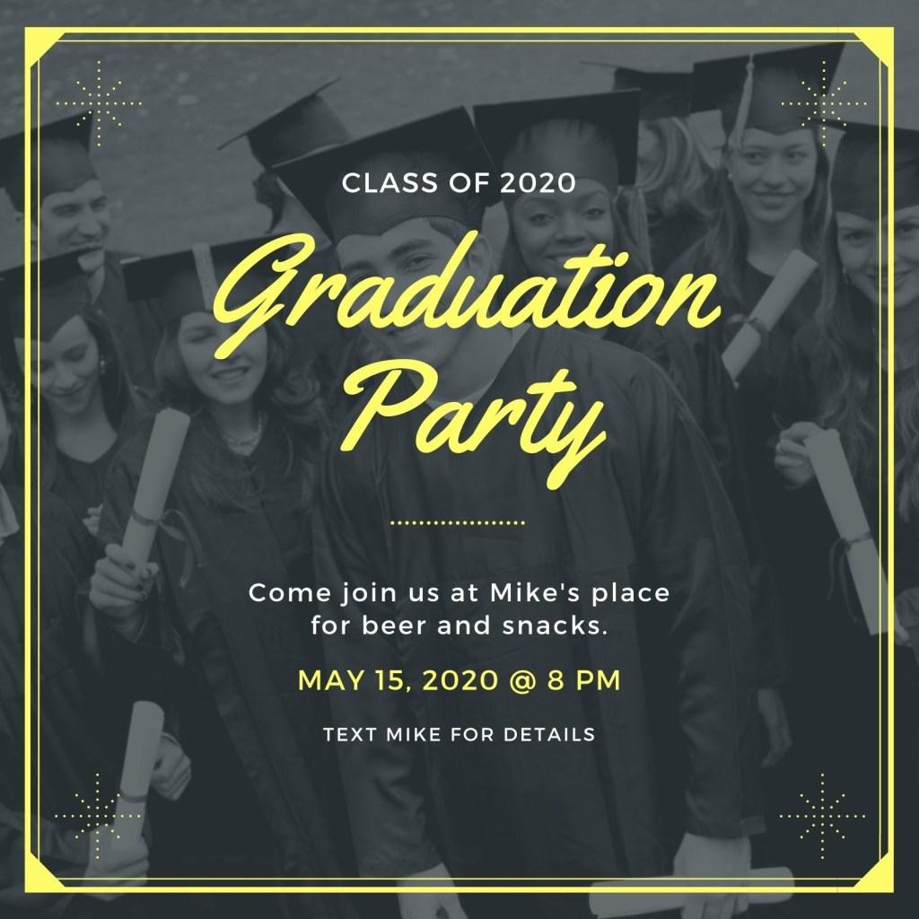 neon bordered photo graduation invitation templates canva