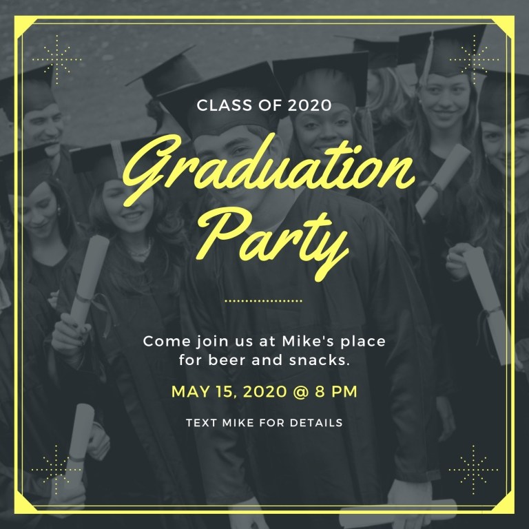 neon bordered photo graduation invitation templates canva