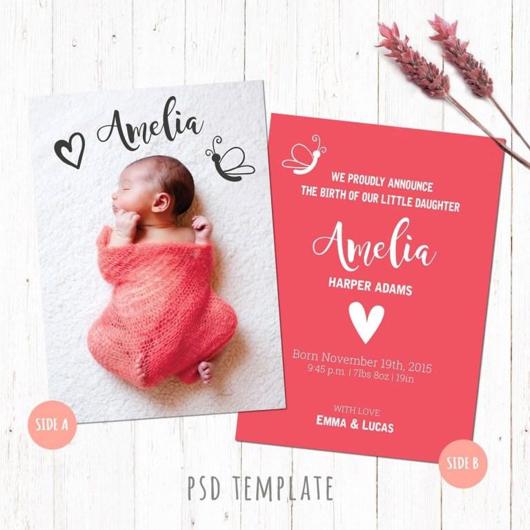 Newborn Birth Announcement Hello World Birth Announcement Photoshop Template Birth Announcement Digital file