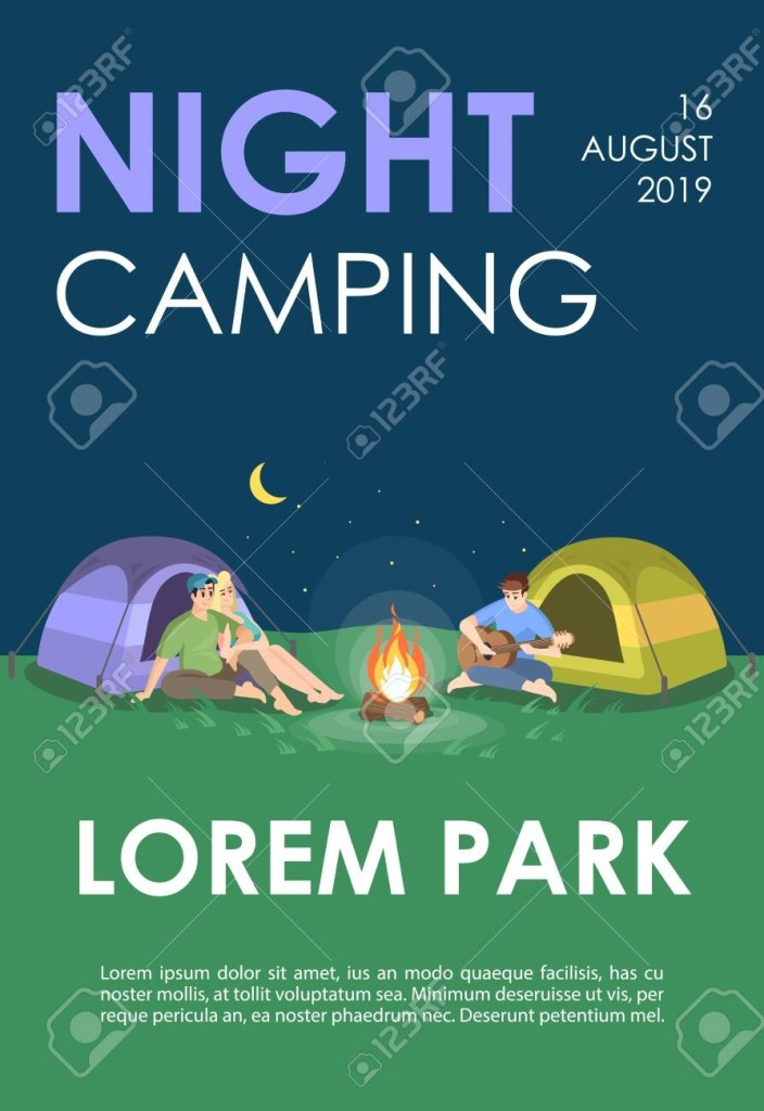 recreation flyer booklet night camping brochure