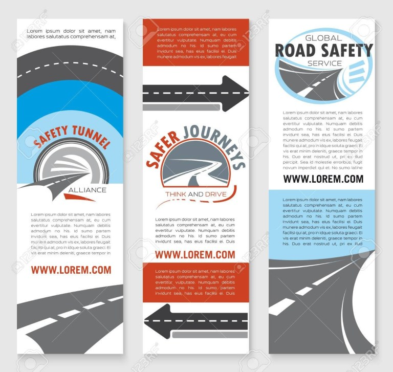 road safety banner template set transportation services travel