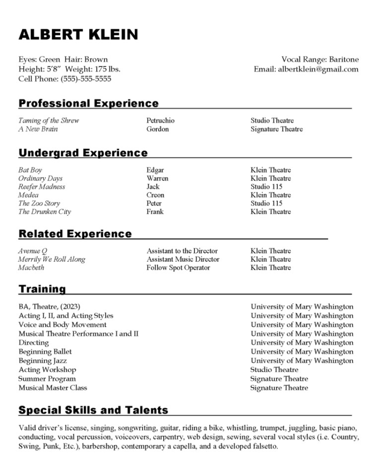 sample resumes center for career and professional development