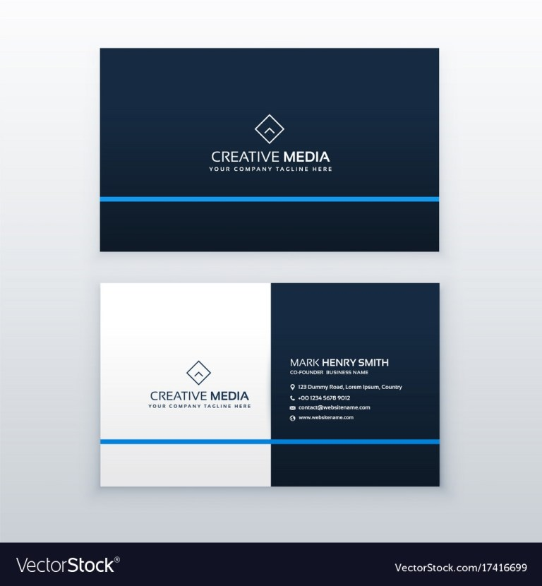 simple blue business card design template vector