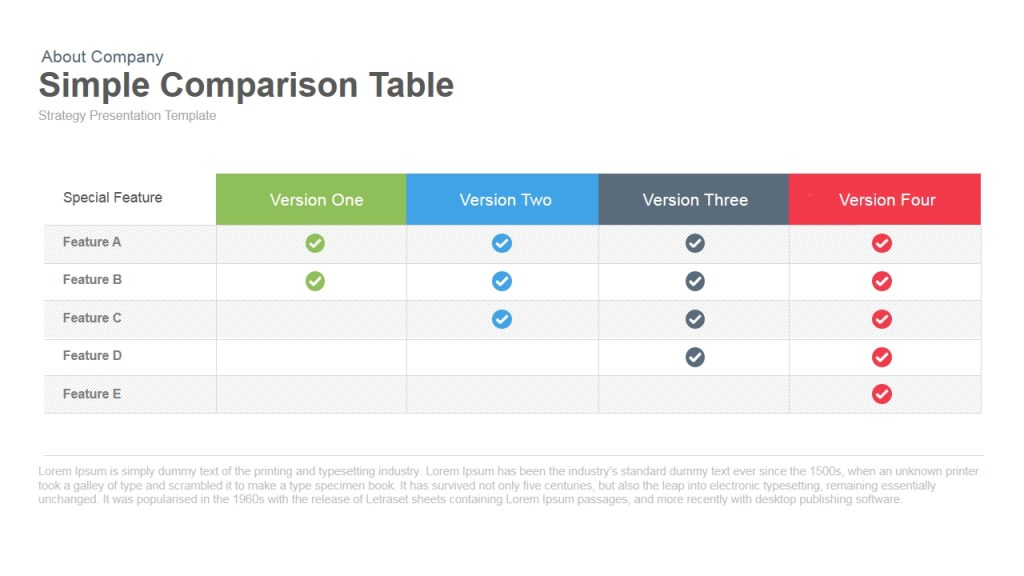 simple comparison table powerpoint template keynote