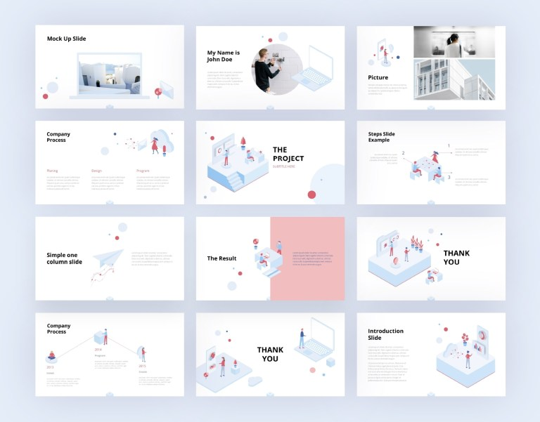 simple isometric ppt template