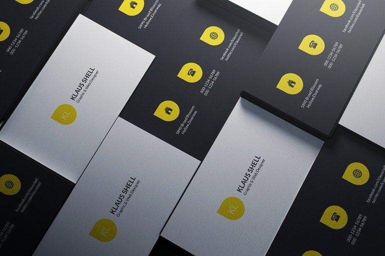 simple white and yellow business card