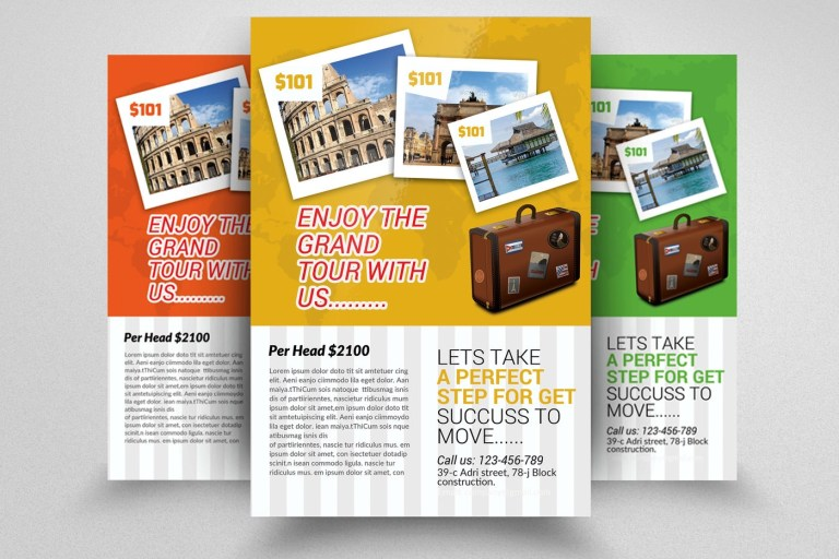 tour and travel flyer template design
