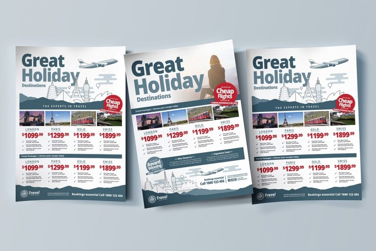 travel agency poster brochure template in psd