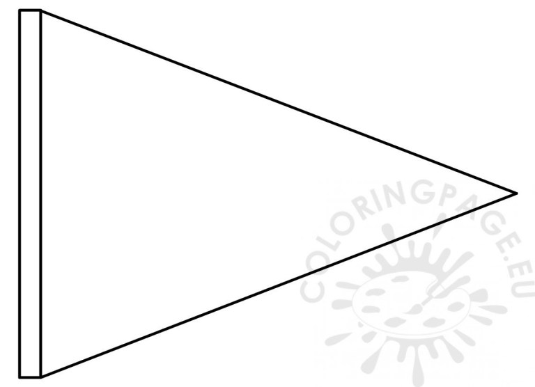 triangle flag banner template coloring page