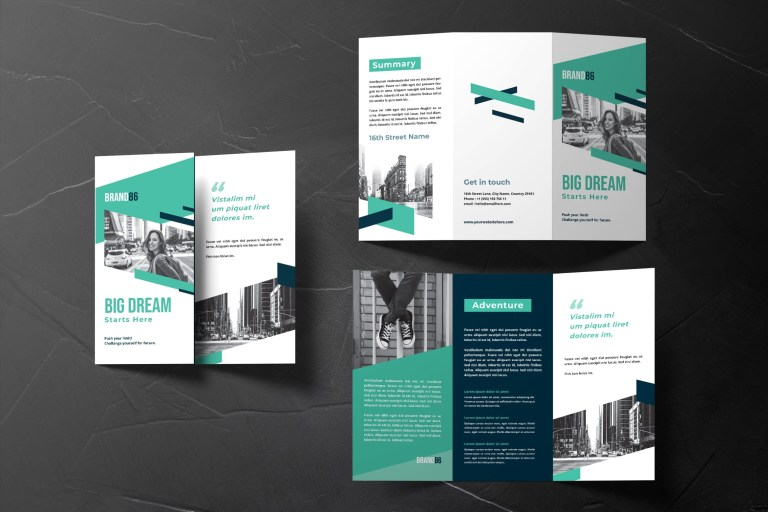 trifold brochure personal adventure