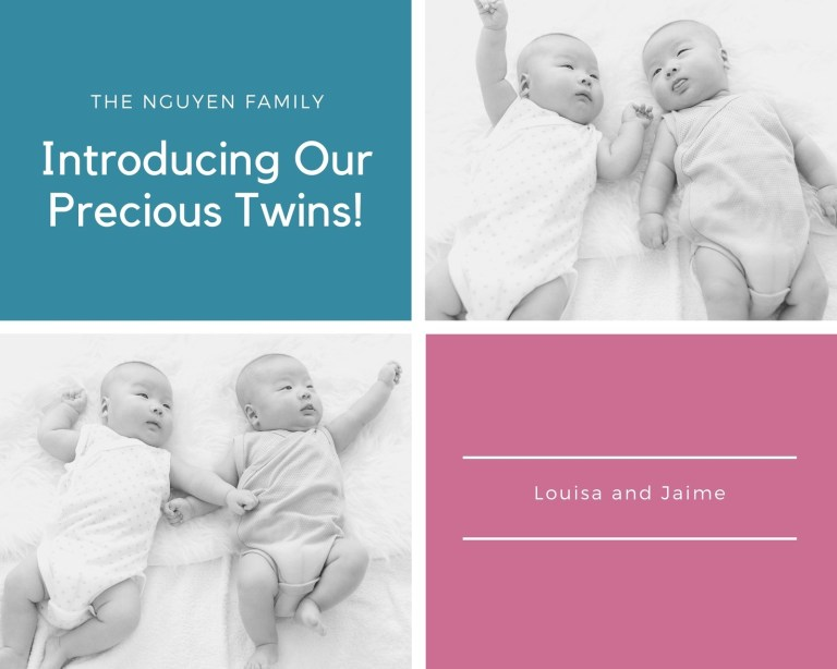 twins birth announcement photo collage templates