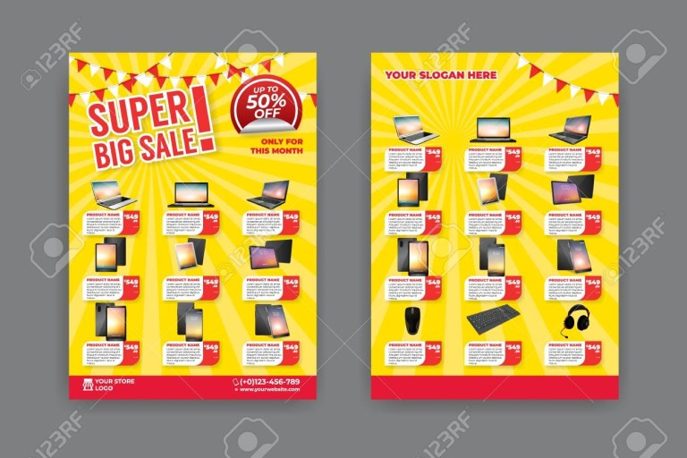 flyer template for sale promotion with sample product
