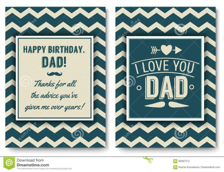 dad birthday card with words of love stock vector