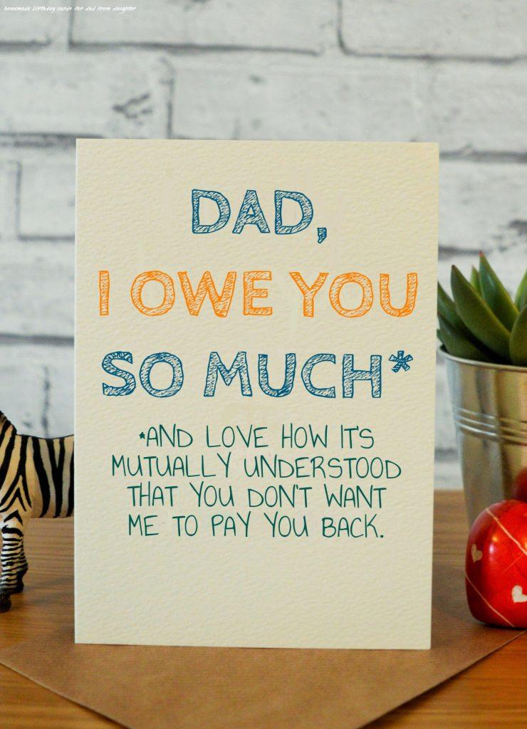 owe dad dad birthday card father birthday cards funny