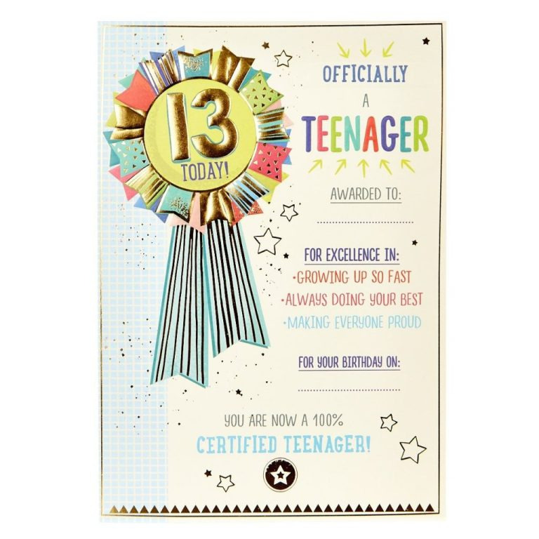 13th birthday card official teenager award