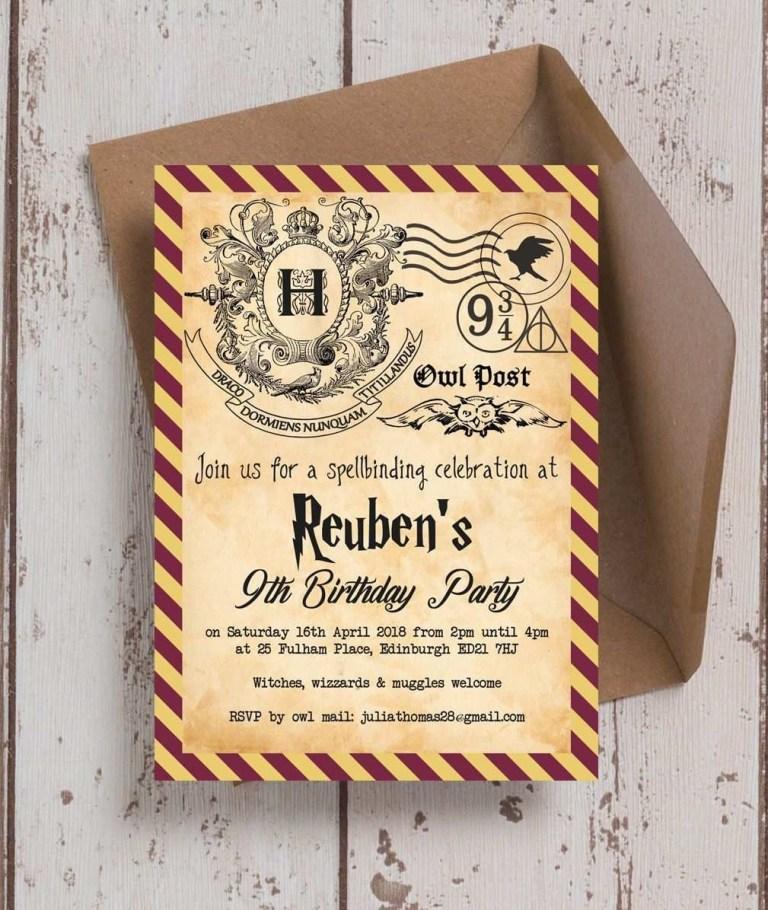77 creative free harry potter birthday invitation template