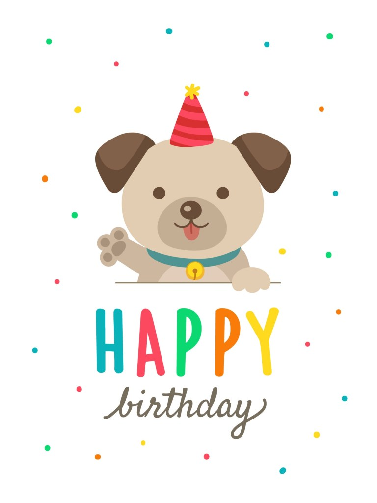 birthday cards with cute cartoon dog download free