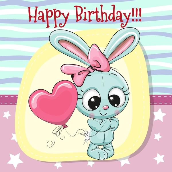 cute happy birthday ba card vectors 07 free download