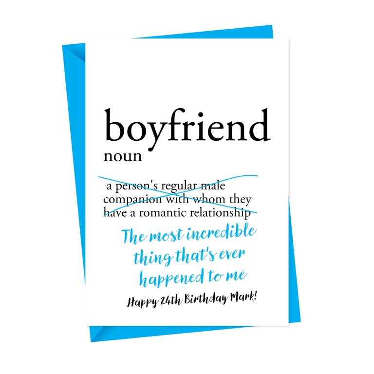 dictionary boyfriend personalised birthday card a is for