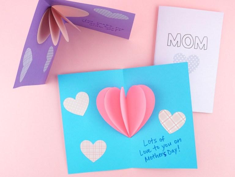 diy pop up heart mothers day card fun365