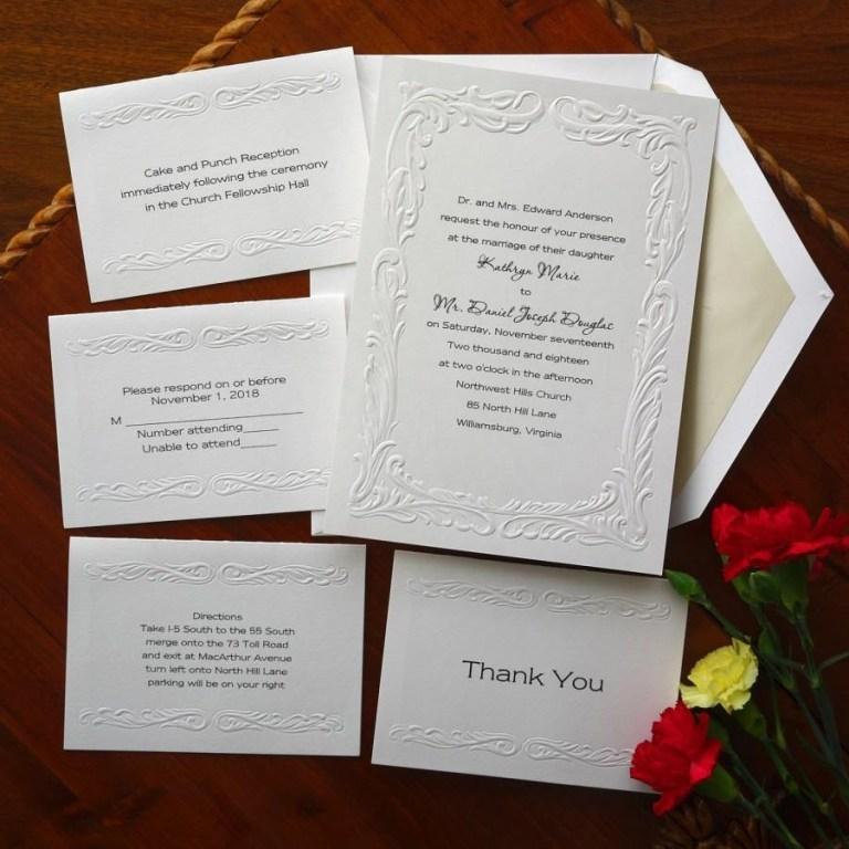 elegant wedding invitation set embossed border