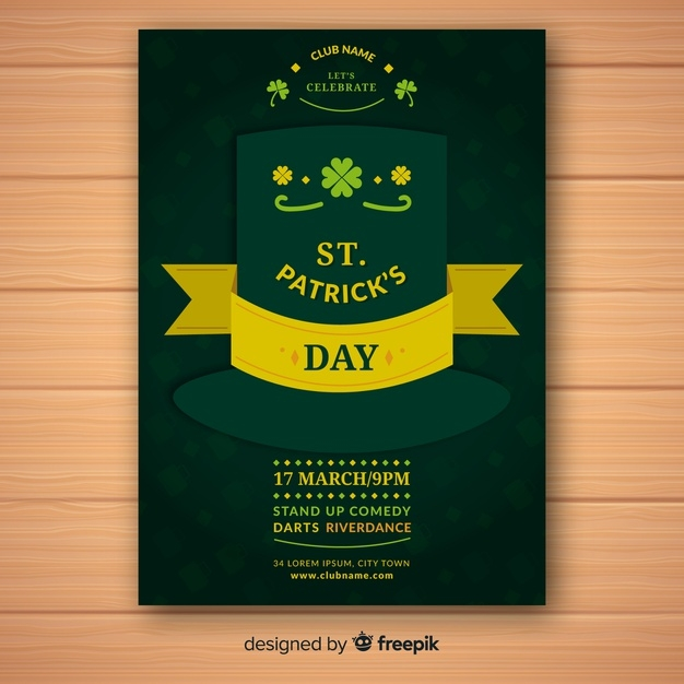 flat st patricks day flyer template free vector