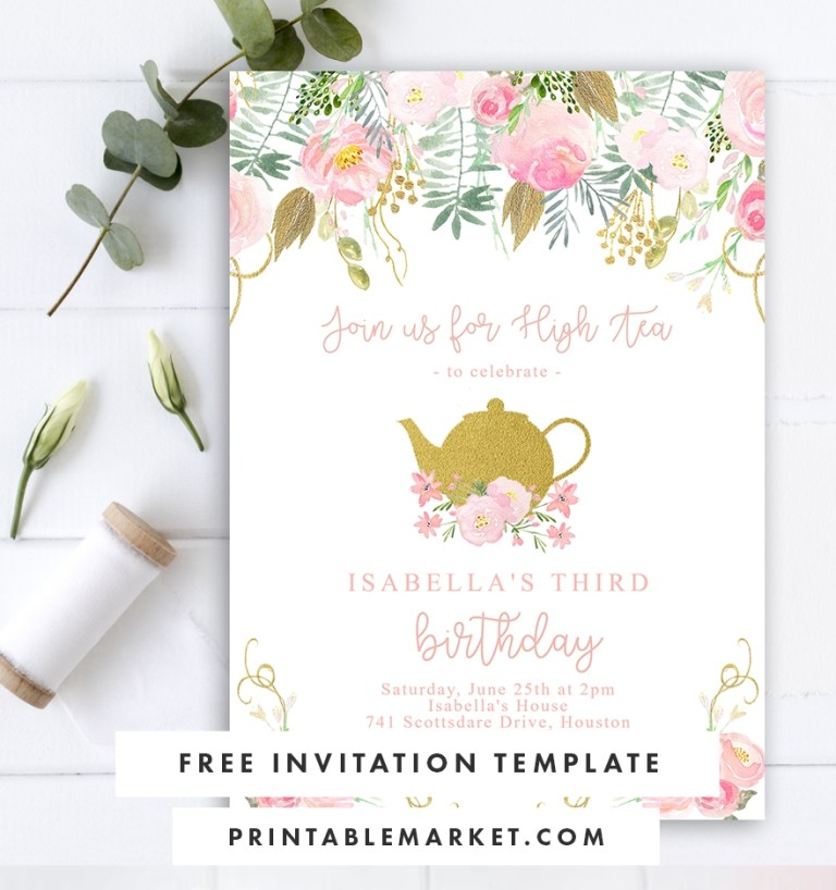 free editable birthday party invitation template tea party