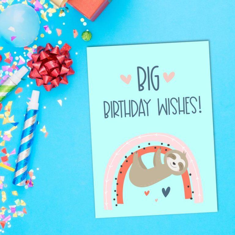 free sloth birthday card sloth greeting card printables