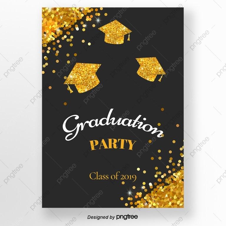golden flash graduation cap invitation letter for graduation