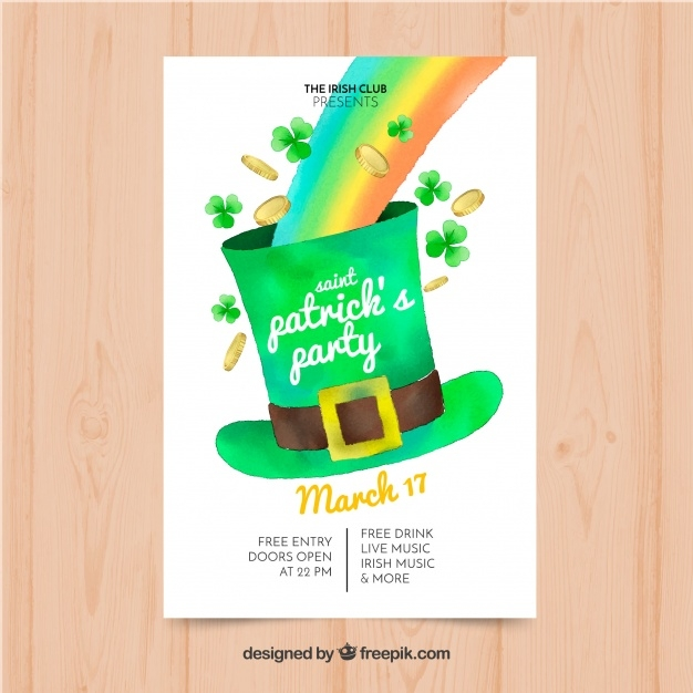 hand drawn st patricks day flyer poster template