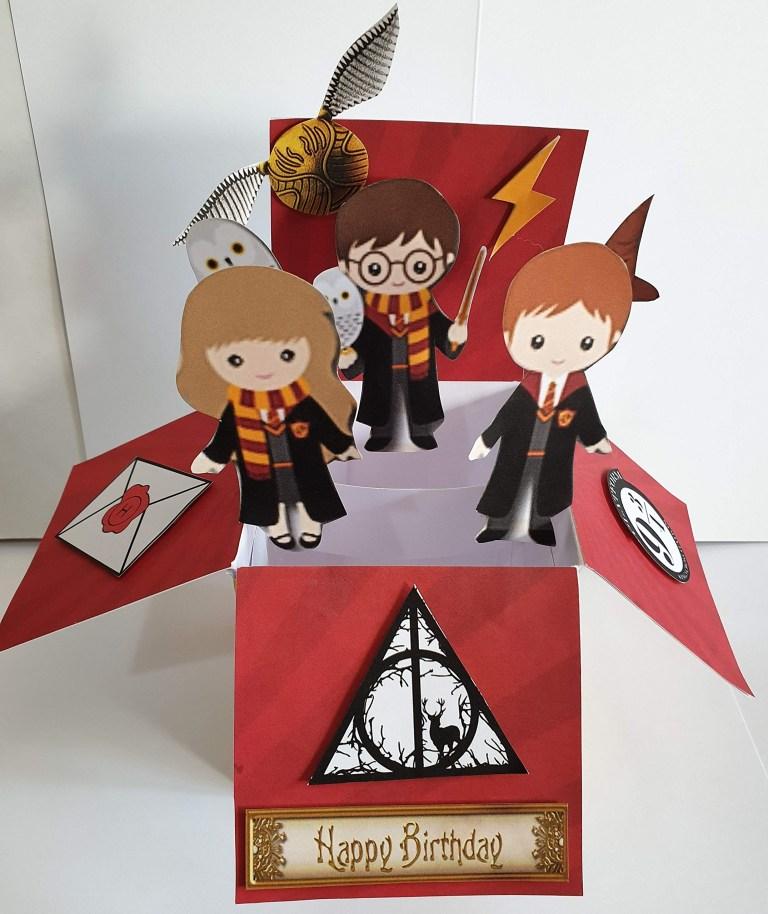 handmade inspired harry potter box pop up birthday card