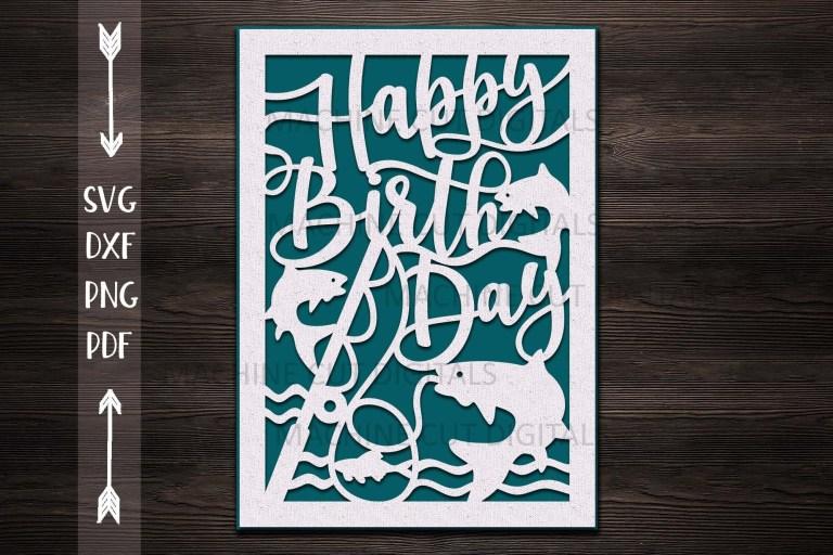 happy birthday card papercut svg laser cut cricut template
